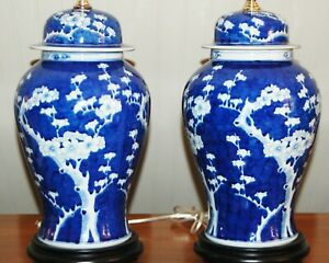 CHINESE Hawthorn PORCELAIN LAMPS Ginger Temple Jars Prunus Blue & White 7T