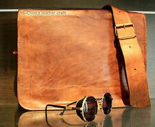Handamde Genuine Brown Leather Vintage Retro Mens Laptop Computer Messenger Bag