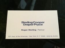 MAD MEN TV Show Original Movie Prop ROGER STERLING Business Card SCD&P
