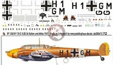 Peddinghaus 1/72 Bf 110 C Markings 8./ZG 26 Sicily & North Africa 1941 WWII 1350