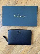 NIB Mulberry Grained Leather Medium Zip Around Wallet Black
