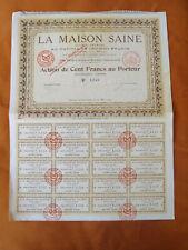 ACTION DE 100 FR LA MAISON SAINE 1924 faible emission a 1300 actions