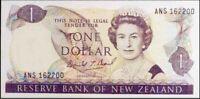New Zealand $1 Last Prefix ANS162200 Brash Signature Paper Banknote Issue p169cL