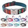 Nylon Dog Collar Dog Leash Set Personalized Free Engraved Name Adjustable XS-L