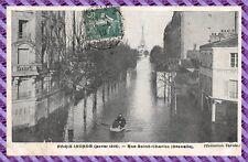 Tarjeta Postal - París inundado - Calle Santo Carlos ( grenelle)