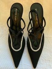 Martine Clay Black Crystal Trimmed Sling Back Pointed Evening Shoes 39 UK6
