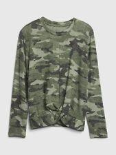 NWT $30 GAP Kids Softspun Twist Front Camouflage Shirt Top XS 4 5 Green Camo