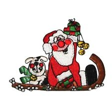 ID 8156B Santa & Dog Riding Sleigh Christmas Embroidered Iron On Applique Patch
