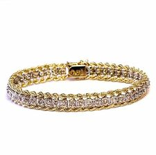 14k yellow white gold womens 1.35ct SI2 K diamond rope tennis bracelet 19.4g 7""
