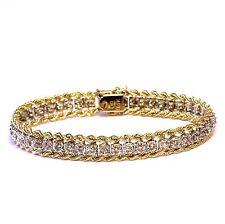 "14k yellow white gold womens 1.35ct SI2 K diamond rope tennis bracelet 19.4g 7"""