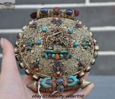 Silver Filigree inlay Turquoise coral Shell Kwan-yin Shrines box Amulet pendant