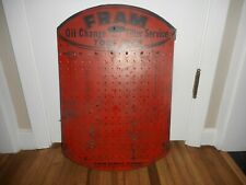 Vintage FRAM OIL FILTER CAR GAS STATION ADVERTISING MASONITE TOOL DISPLAY SIGN