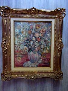 Huile sur Toile Bouquet de Fleurs MELVILLE PAUL SIMON - Ecole Fse XXe