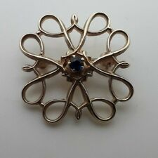 21mm Vintage 1960's 9ct Yellow Gold Sapphire Brooch weight 2.30 grams pin Roller