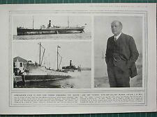 1915 WWI WW1 PRINT ~ CAPTAIN J. W. BELL GALLANT SKIPPER SUNK ALSTON & THORDIS