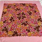 Vintage Retro Dunmoy Ireland Pink Flower Rectangle Tablecloth 1970s