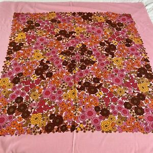 Vintage Retro Dunmoy Ireland Pink Flower Square Tablecloth 1970s