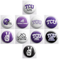 TCU HORNED FROGS – college athletic pinback buttons – sports team pins badges