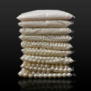 Loose Round White Or Beige Pearl Beads For DIY Fashion Jewelry Making Art Crafts