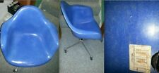 EAMES RARE BLUE Fiberglass Vintage Armshell HERMAN MILLER Chair SWIVEL TILT BASE
