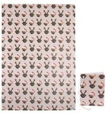 Pug Christmas Wrapping Paper - 2 Sheets Plus 2 Tags - Cute Birthday Gift Present