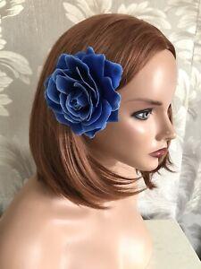 Large Royal Blue Cobalt Rose Hair Clip Rockabilly 1940s 1950s Floral Clip