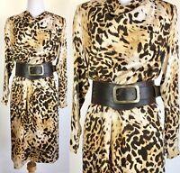 Collectors Vtg BILL BLASS Silk Animal Print Leopard Cheetah Silk Dress S/M