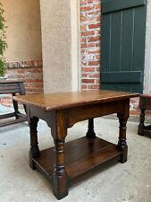Antique English Oak Stool Bench End Table Jacobean Joint style Shelf