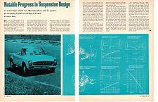 1963 MERCEDES-BENZ 230-SL / BUICK RIVIERA SUSPENSION DESIGN  ~ ORIG ARTICLE / AD