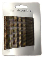 36 Long Large 6.5cm Kirby Hair Grips Clips Bobby Waved Pins Slides Black Brown