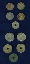 DENMARK 10 ORE COINS: 1897, 1903 (2), 1917, 1924, 1925, 1941, 1949, LOT OF (10)