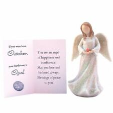 """Birthstone Angel - October Happiness & Confidence White with Pink """"stone"""""""