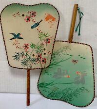 Vintage Oriental Floral Birds Koi Fish Wooden Handle Silk Paddle Hand Fans (2)