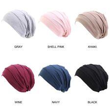 Women's Satin silk Lined Sleep Cap Slouchy Beanie Turban Chemo Hat teens Adults