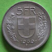 SUISSE 5 FRANCS 1969 B ARGENT °
