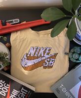 Nike SB Men's Size XL Yellow Rare Europe exclusive brick logo TShirt with purple