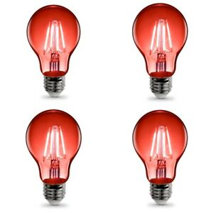 Set Of 4 Dimmable Red LED Light Bulb A19 3 Watt E26 Base Clear Glass Lights Up R