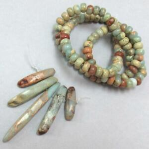 Turquoise African Opal Jasper, Rondelles and 5 Pendants