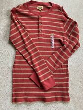 The Foundry Big & Tall Supply Co Mens Long Sleeve Henley Shirt Red SZ LT