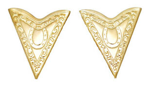 NEW! Western Collar Tips - Engraved - Gold Tone - Screw On (SAME DAY SHIP)