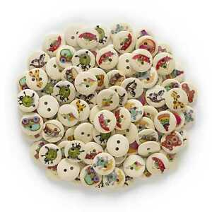50pcs Toy Pattern Wood Buttons for Sewing Scrapbooking Cloth Home Handmade Decor