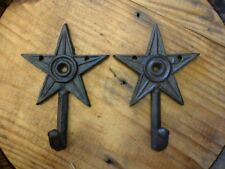 "2 SMALL 6"" BROWN STAR WALL HOOKS ANTIQUE-STYLE CAST IRON western rustic hat coat"