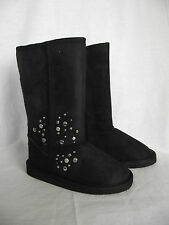 BNWT Little Girls Sz 10 Cherrylane Long Black Silver Stud Detail Slipper Boots