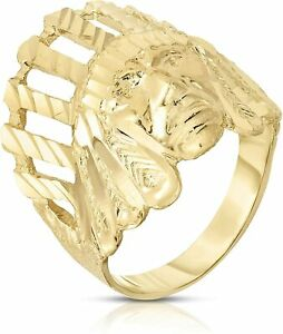 3D Size 10 Men's Indian Chief Head Ring Real Solid 10K Yellow Gold Great Details