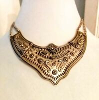 Egyptian Revival Articulated Gold Tone Collier Bib Necklace, Adjustable  #217