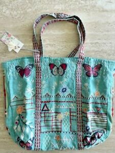 Johnny Was Aravis Embroidered Green  Linen Red Hobo tote bag Handbag Purse NEW