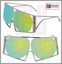 LINDA FARROW TODD LYNN Angular Metal TL4 Silver LIme Green Mirrored Sunglasses
