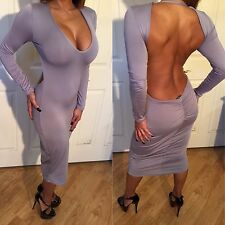 Connie's Long Sleeved Backless Ruched Butt Gray Midi Dress with Low Cut V Neck L