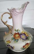 """Antique G & G Teplitz Turn Austria 10"""" Hand Painted Floral Art Nouveau Ewer Vase"""
