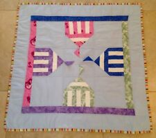 Patchwork Small Quilt, Houses, Floral And Dot Calicos, Multi Color, Hand Made